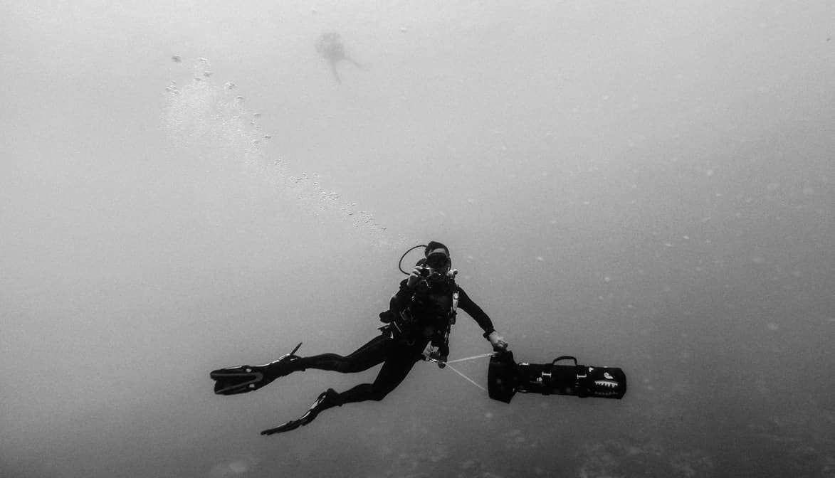 greyscale photo of man wearing spring suit underwater photo