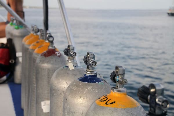 scuba tanks lined up