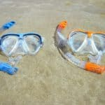 blue and orange snorkling mask