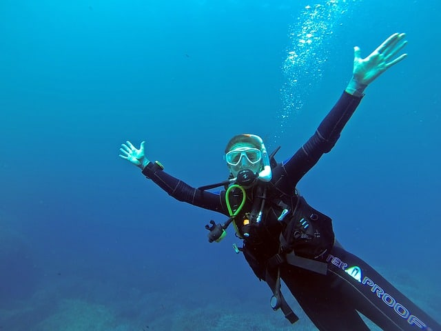 a female scuba diver in underwater